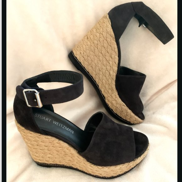 STUART WEITZMAN Wedge Sandal Ankle Strap US 7.5